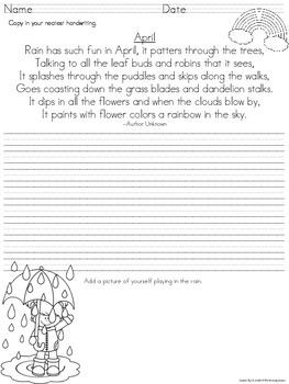 Handwriting Practice - Spring Edition