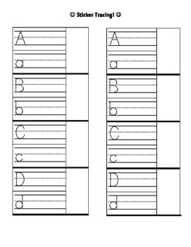 Handwriting Practice Sticker Cart A-D
