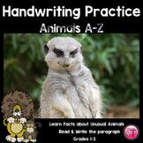 Unusual Animals-Themed Handwriting Practice