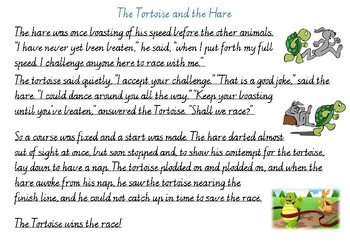 Handwriting Practice - The Tortoise and the Hare (Victorian Cursive)
