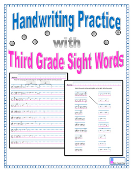 Handwriting Practice - Third Grade Sight Words