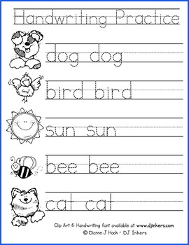 handwriting practice worksheet by dj inkers teachers pay teachers. Black Bedroom Furniture Sets. Home Design Ideas