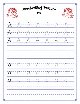 handwriting practice worksheet aa zz by jennifer johannsen tpt. Black Bedroom Furniture Sets. Home Design Ideas