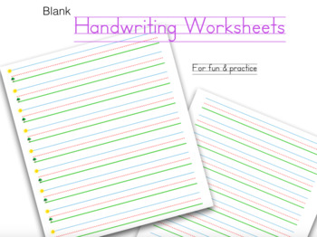 Handwriting Practice Worksheets (colored)