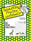 Handwriting Practice Worksheets – 'In the Garden' Theme