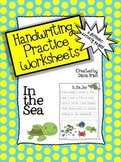 Handwriting Practice Worksheets – 'In the Sea' Theme