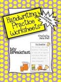Handwriting Practice Worksheets – 'My Breakfast' Theme
