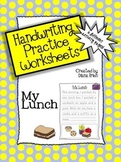 Handwriting Practice Worksheets – 'My Lunch' Theme