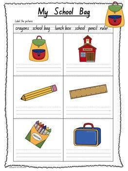 handwriting practice worksheets my school bag theme by mrsbrien. Black Bedroom Furniture Sets. Home Design Ideas