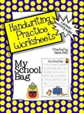 Handwriting Practice Worksheets – 'My School Bag' Theme