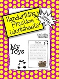 Handwriting Practice Worksheets – 'My Toys' Theme