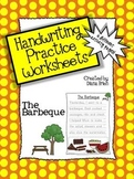 Handwriting Practice Worksheets – 'The Barbeque' Theme