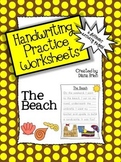 Handwriting Practice Worksheets – 'The Beach' Theme