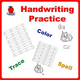 Handwriting Practice Bundle Trace Letters, Spell Words and Color