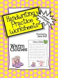 Handwriting Practice Worksheets – 'Warm Clothes' Theme