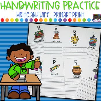 Handwriting Practice- Write and Wipe, Primary Print