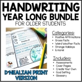 D'Nealian Handwriting Worksheets for Older Students | Year Long