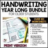 Handwriting Practice for Older Students   Year Long   Print Worksheets