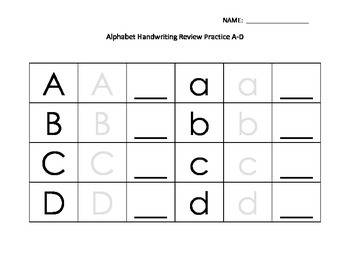 Handwriting Practice Aa-Dd