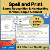 Handwriting Practice & Schwa Effect Alternative Spellings supports Jolly Phonics