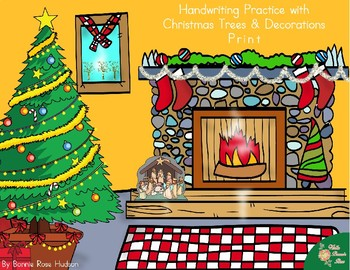 Handwriting Practice with Christmas Trees and Decorations: Print Style