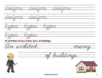 Handwriting Practice with Community Helpers: Cursive