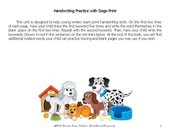 Handwriting Practice with Dogs: Print Style