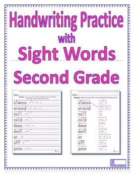 Handwriting Practice with Second Grade Sight Words by Vicki Corich