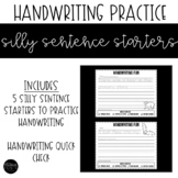 Handwriting Practice with Silly Sentence Starters