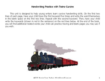 Handwriting Practice with Trains: Cursive Style
