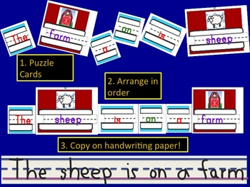 Handwriting Puzzle Sentences with Dolch words - Zoo and Farm Animal Themed