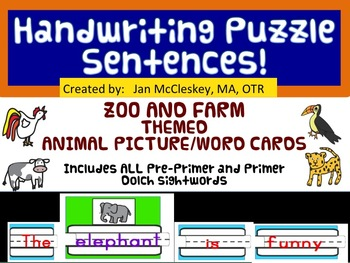 Handwriting Puzzle Sentences with Dolch words - Zoo and Fa