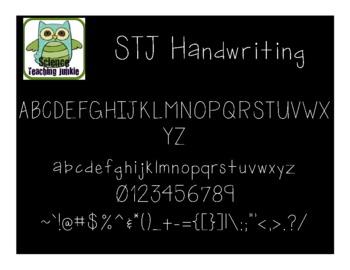 Handwriting - Science Teaching Junkie Font Series
