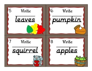 Handwriting Scoot- Fall Themed Words - D'Nealian and Zaner Bloser Styles