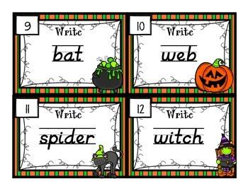 Handwriting Scoot- Halloween Themed Words - D'Nealian and Zaner Bloser Styles