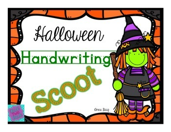 Handwriting Scoot- Halloween Themed Words - D'Nealian and