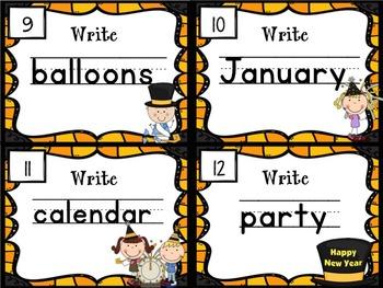 Handwriting Scoot- New Years Themed