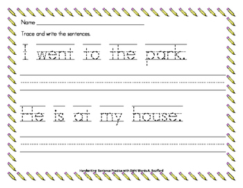 Handwriting Sentence Practice with Sight Words
