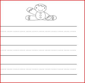 Handwriting Set: Lined writing paper with holiday picture