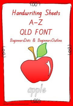 Handwriting Worksheets A to Z Qld font