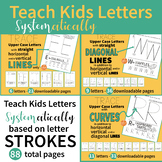 Handwriting System - Upper Case ABC Letters by Lines, Diagonals and Curves