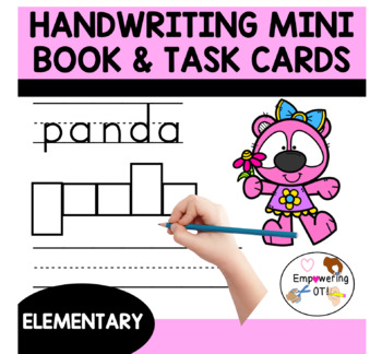 Handwriting TASK cards & handwriting MINI BOOK trace, box, copy and color!
