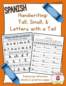 Handwriting: Tall, Small, and Letters with a Tail (Spanish)