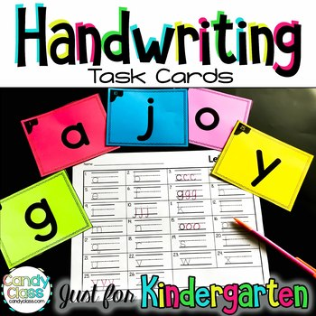 Kindergarten Handwriting Task Cards with Anchor Charts & Games