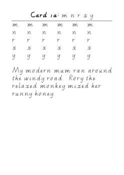 Handwriting Task Cards: mnrxy