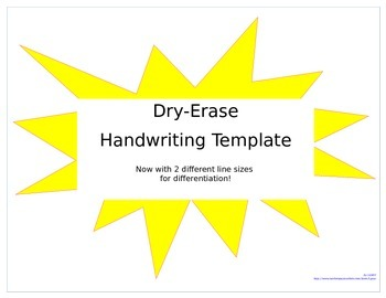 Handwriting Template for Dry-Erase- 2 line sizes!!
