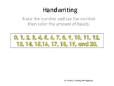 Handwriting---Tracing numbers 0-20 and coloring in the beads.