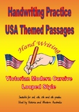 Handwriting USA Themed Passages  -  Victorian Modern Cursive Joined  Style