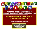Handwriting Warm Up Worksheets Emphasizing Correct Patterning of Letters