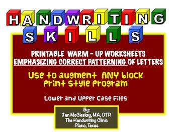 Handwriting Warm Up Worksheets Emphasizing Correct Pattern